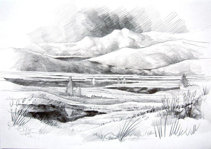 Fantasy landscape by #Minkulul Pencil drawing A4
