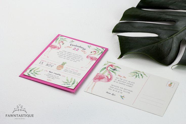 Individuelle Einladung zum Geburtstag. Tropical Flamingo Party mit Monstera Dekoration - funktioniert doch immer, oder?   Individual Birthday Invitation with Flamingo