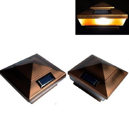 2pack Garden Solar Copper Post Deck Cap Square Fence Lights 4 X 4 with AMBER LED lights *** Click image to review more details.