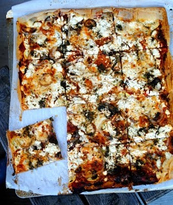 goat cheese phyllo dough pizza... sounds so decadent! i love me some ...