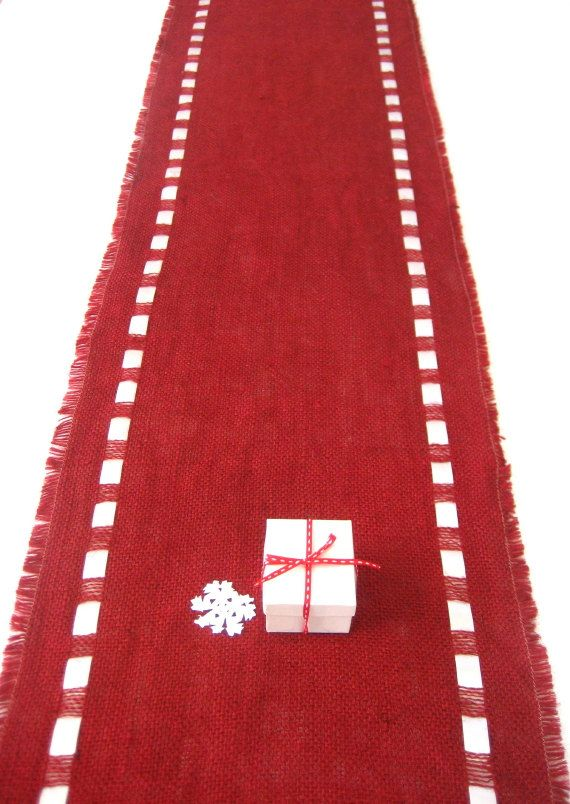 Red Burlap Table Runner with Satin Ribbon - Lush Color Tabletop  - Christmas Brunch