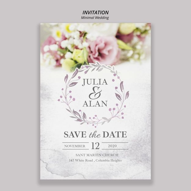 Floral Minimal Wedding Invitation Template Wedding Invitation Templates Minimal Wedding Invitation Wedding Invitation Posters