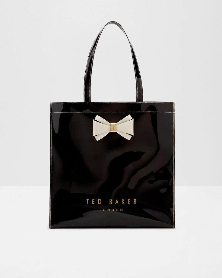 Bow detail large shopper bag - Black | Bags | Ted Baker