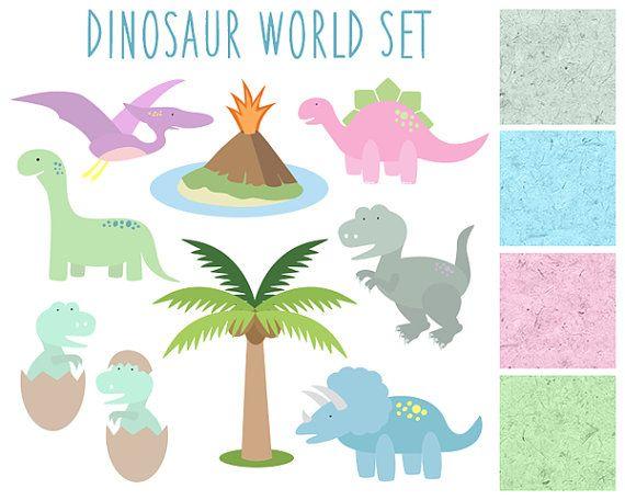 Dinosaur Clipart Kids Clip art Volcano Palm by thepaperpegasus