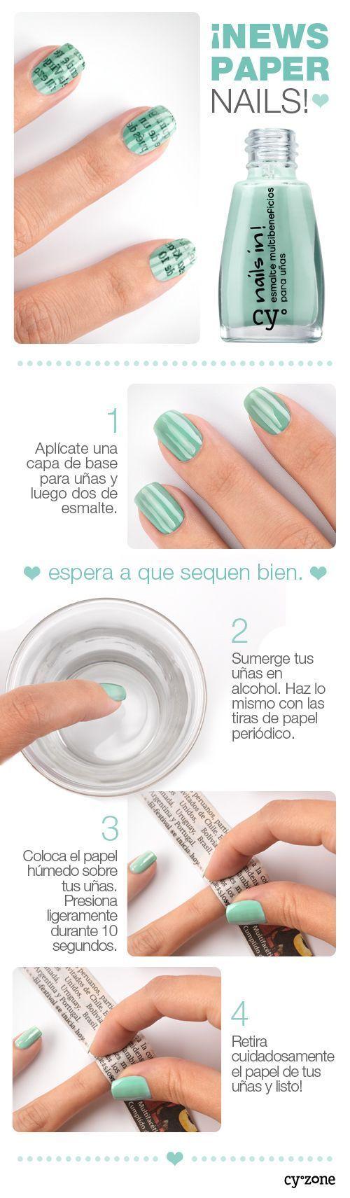 DIY Newspaper nail art idea | Uñas de periódico con tono verdoso | Decoración de Uñas