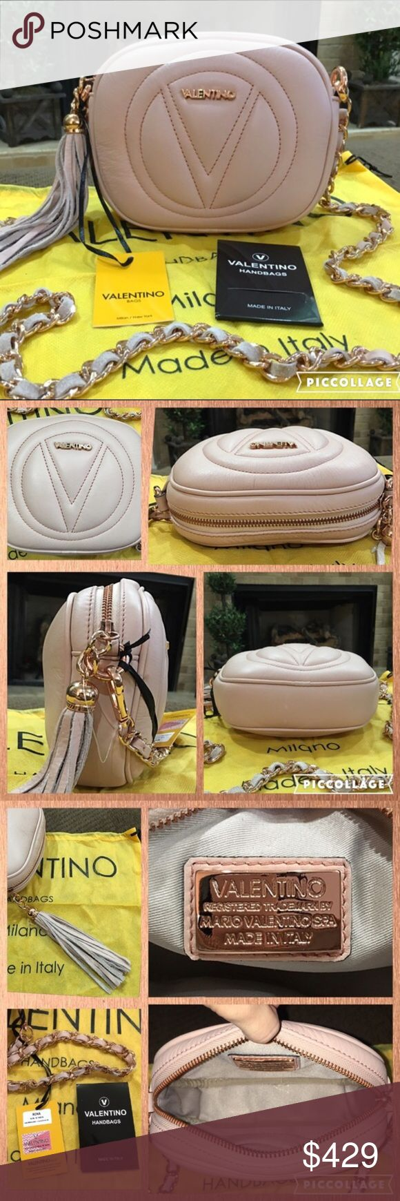 BNWT! Authentic Valentino Cross-body Bag! This is a gorgeous hard to find authentic VALENTINO crossbody bag by Mario Valentino in gorgeous nude/tan with pink undertone, caviar leather and rose gold hardware. The leather tassel adds a touch of style and class. Comes with original tags and dustbag. Perfect for any occasion! Dimensions: 8.25' L x 6.5' H Mario Valentino Bags Crossbody Bags
