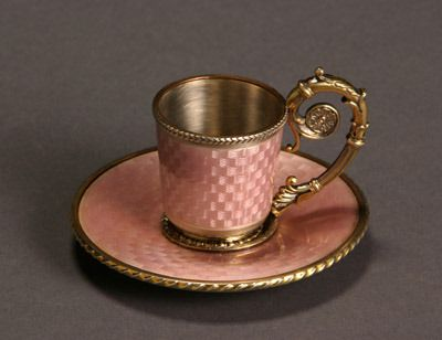 Russian Style Gilt Silver and Pink Enamel Demitasse Cup and Saucer  20th Century