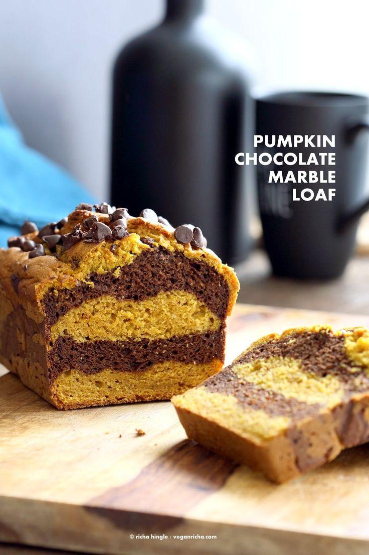 Easy Marbled Golden Pumpkin Chocolate Bread. Layers of Pumpkin Spice   Turmeric   Pumpkin puree, and Chocolate Cake. Vegan Soy-free Recipe