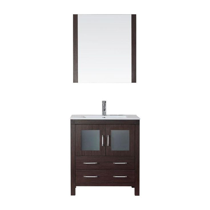 Virtu USA Dior 30 in. Vanity in Espresso with Ceramic Vanity Top in White and Mirror-KS-70030-C-ES - The Home Depot