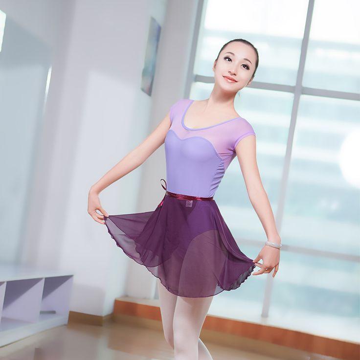 Filles Adultes Court Maille Manches Splice Ballet De Danse Justaucorps Sexy Semi…