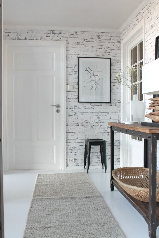 White And Black Painted Brick White Tan And Wood Details