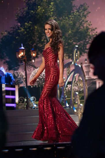 Nia Sanchez, Miss USA 2014 competes in an evening gown of her choice as one of the top ten finalist during The 63rd Annual Miss Universe Pageant. Get this look from FRENCH NOVELTY, with style L46710C by Lux Girl.