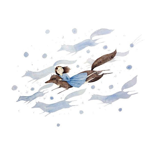 Sky Pack, Illustration Art Print, Watercolor Painting, Story Book Art, Traditional Media, Nursery Decor, Fox, Fantasy, Giclée by ohmycavalier on Etsy https://www.etsy.com/listing/271419695/sky-pack-illustration-art-print