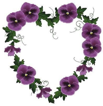 Purple pansy hearts