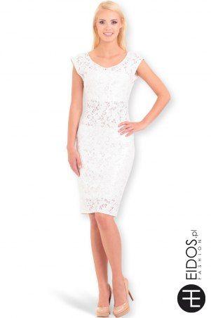 Letnia #biała sukienka koronkowa z cekinami