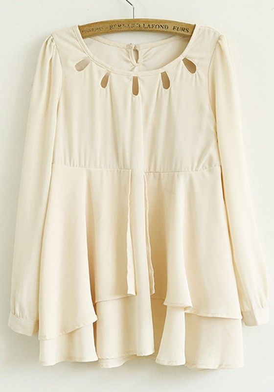 Beige Patchwork Round Neck Above Knee Chiffon Dress