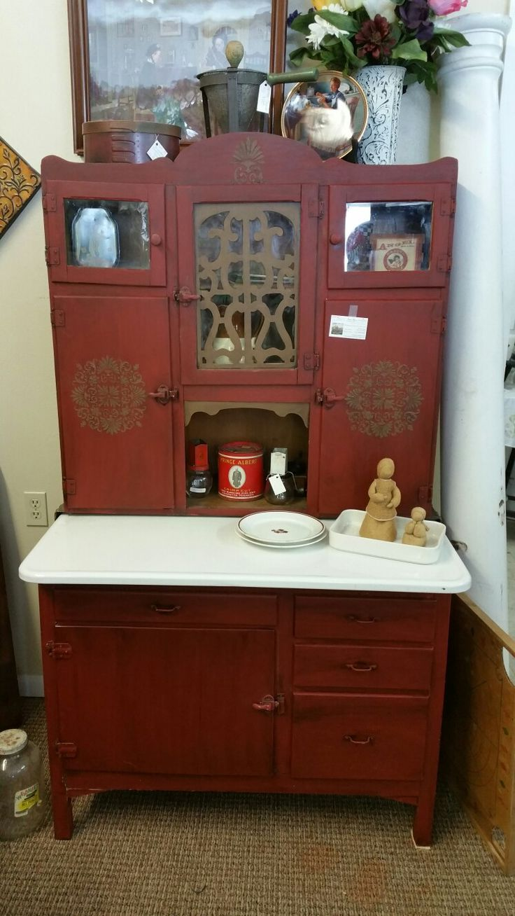 Beautiful Kitchen Cabinet Painted With DixieBellePaint Barn Red And Tried In Pine Cone.  Expresso Stain