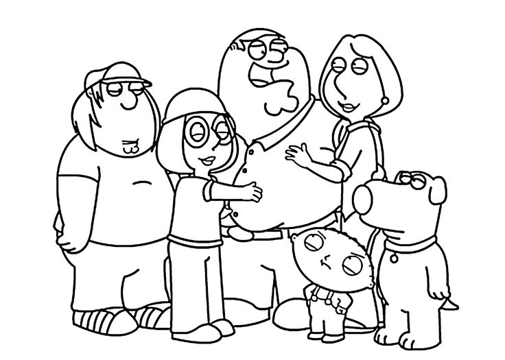 Family Guy together coloring pages for kids, printable ...
