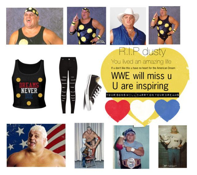 """R.I.P dusty Rhodes (WWE)"" by livelovemoonlight ❤ liked on Polyvore featuring art"