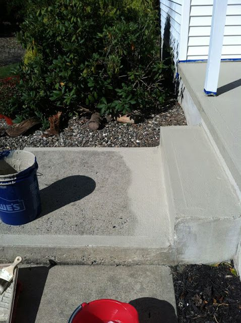Resurfacing Concrete Porch Makeover Fills In