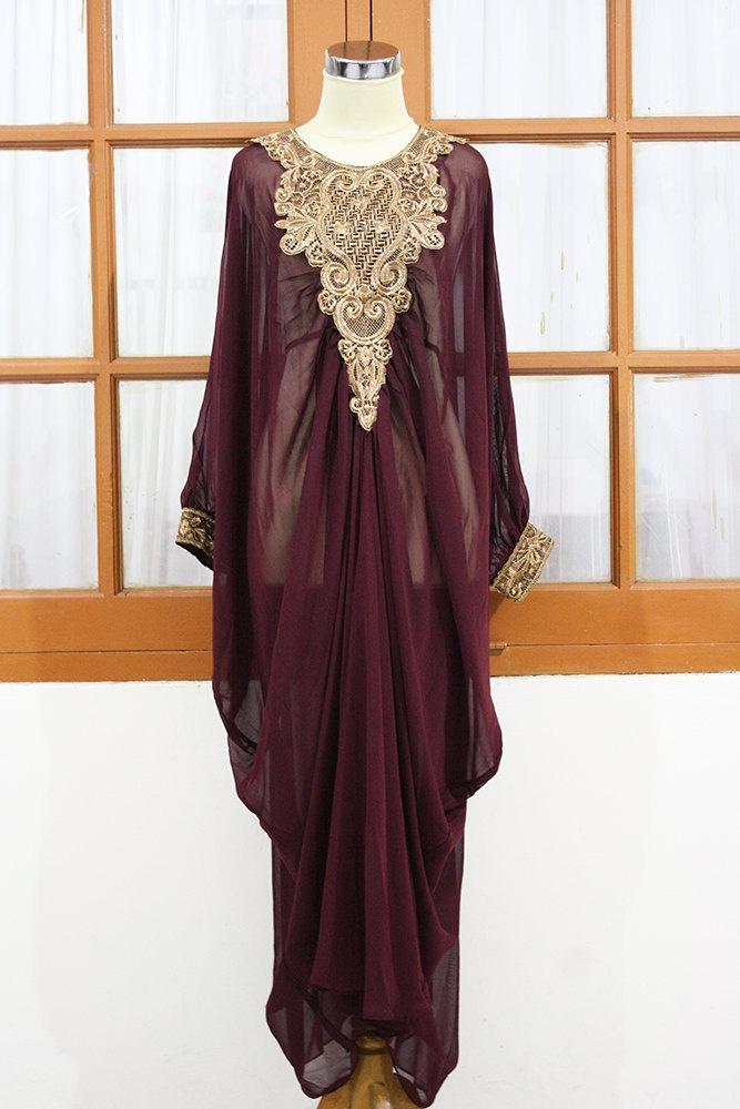 MOROCCAN Red maroon kaftan Dubai style gold embroidery maxi dress farasha jalabiya. $48.88, via Etsy.