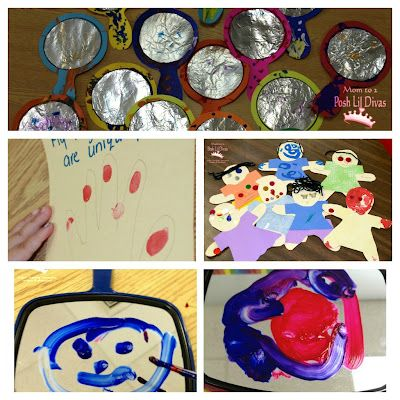 """Preschool """"Marvelous Me"""" All About Me themed crafts and activities - study fingerprints, paint self in mirror, decorate paper dolls and more"""