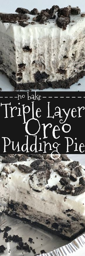 Triple layer Oreo pudding pie is a no bake dessert that is so simple to make and so yummy. All you need are 5 ingredients! It's the perfect summer pie because there is no oven needed and it's so light tasting.