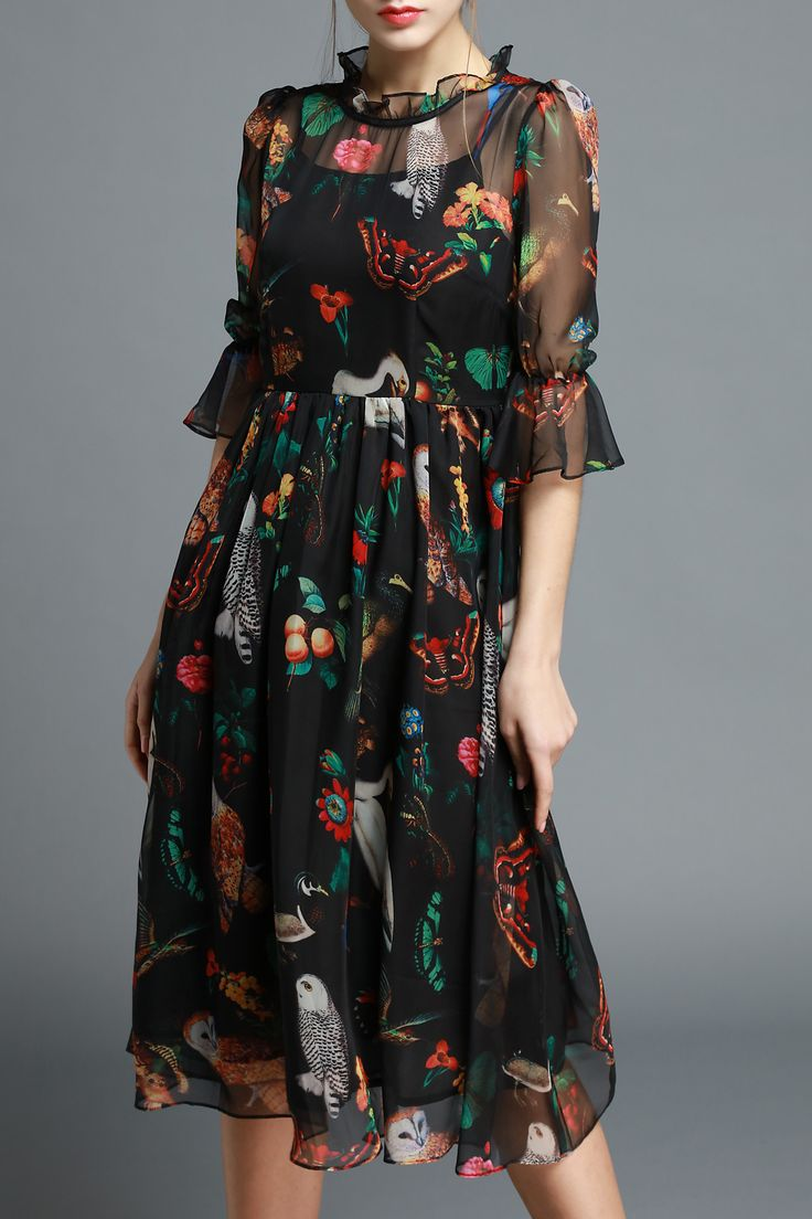 Ziyi Black Owl Print Ruffled Silk Dress | Midi Dresses at DEZZAL