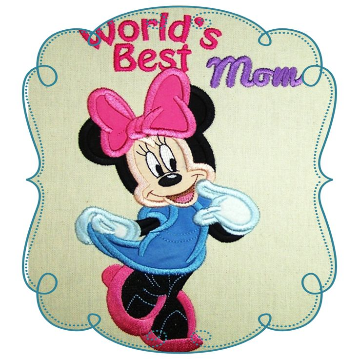 Mothersday Minnie Mouse Applique -Machine Embroidery Design Pattern-INSTANT DOWNLOAD