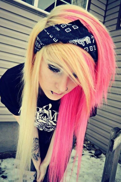 Pink and Blonde Hair . The Bandana Ties the Whole emo Look together . Her Piercing is Perfect .