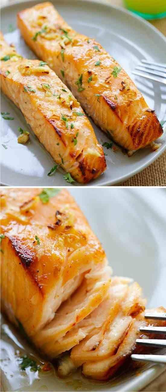 Honey Mustard Baked Salmon - baked, blackpepper, healthy, honey, mustard, recipes, salmon