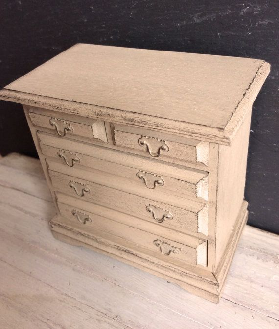 Dolls House Miniature Shabby Neutral Chest of by Artistique