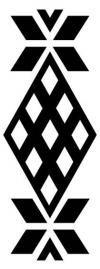 PICHIKEMENKÚE con ANÜMKA : este diseño mapuche con forma de diamantes representa una pequeña tinaja o jarrón de greda. En el extremo del diamante mayor, está una figura que simboliza plantas.