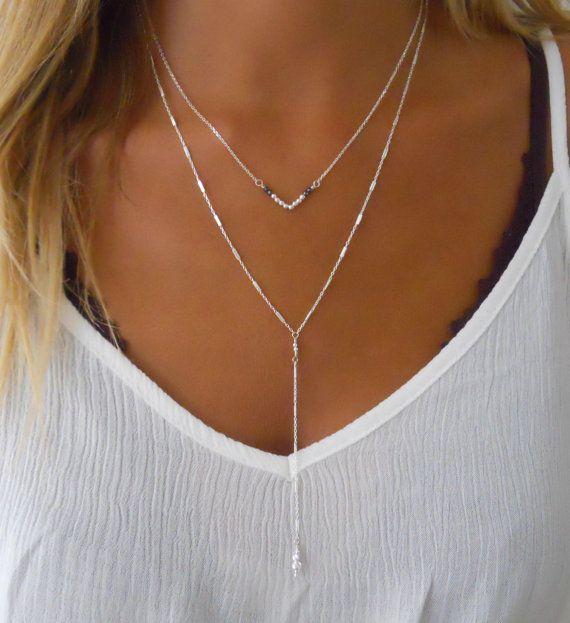 Silver Y Necklace Set, Silver V Necklace, Set Of 2 Sterling Silver Necklaces, V Shape Necklace, Silver Lariat Layered Necklae Set,