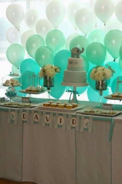 Baby Christening Ideas: Baby Blues... Boy Balloons. Boys Party. Party Balloons. Kids Party. Love the Ombre style :-)
