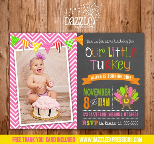 Printable Girl Turkey Chalkboard Birthday Invitation   First Birthday Party Ideas   Photo Card   Thanksgiving Birthday   November   Fall   Matching Printable Party Package Decorations Available!   Digital File   Fall Birthday Invite   FREE thank you card included   www.dazzleexpressions.com