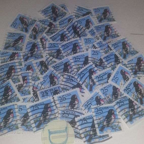 D Vintage paper supplies 25 cent USA postage stamp grosbeak song bird image blue background used cancelled lot of 50