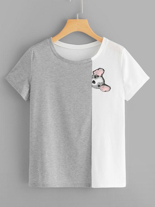 3520af9226 Two Tone Spliced Cartoon Print Tee in 2019 | womens tops | Animal ...