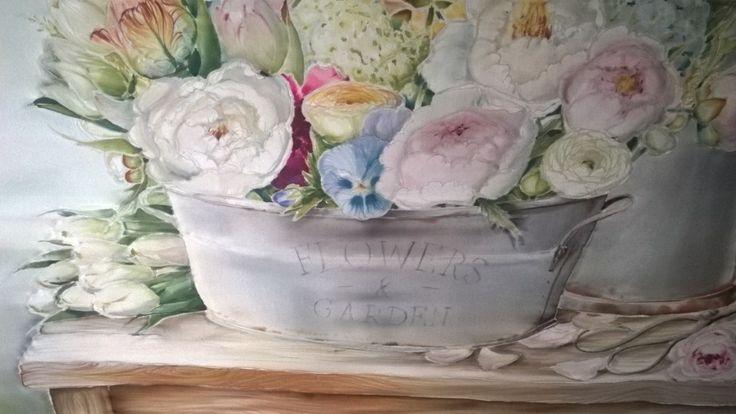 silk painted ,peony