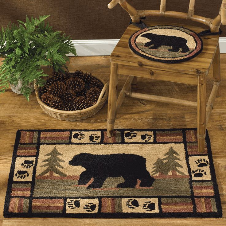 Bear Horizon Hooked Rug U0026 Chair Pad   Space Dyed Yarns Add Lovely Color  Variations To This Hand Hooked Poly Loop Yarn Rug And Chair Pad With A Black  Bear ...