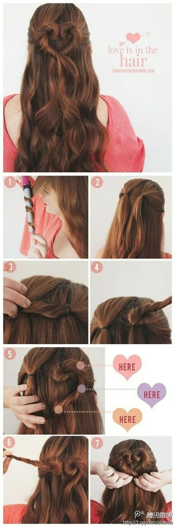 Heart-shaped 1/2-up hairstyle