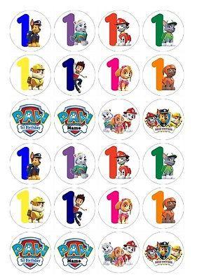 24 X Cumpleaños Números Paw Patrol precortadas Comestible Cupcake Toppers