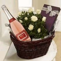Luxury Basket - With Sparkling Rose Wine  A luxury basket containing a flowering plant, a box of delicious chocolates and a bottle of our bubbly pink sparkler.    You could also choose to upgrade to one of our Premium Champagnes, or alternatively send a bottle of red or white wine instead? See below for details of these products.