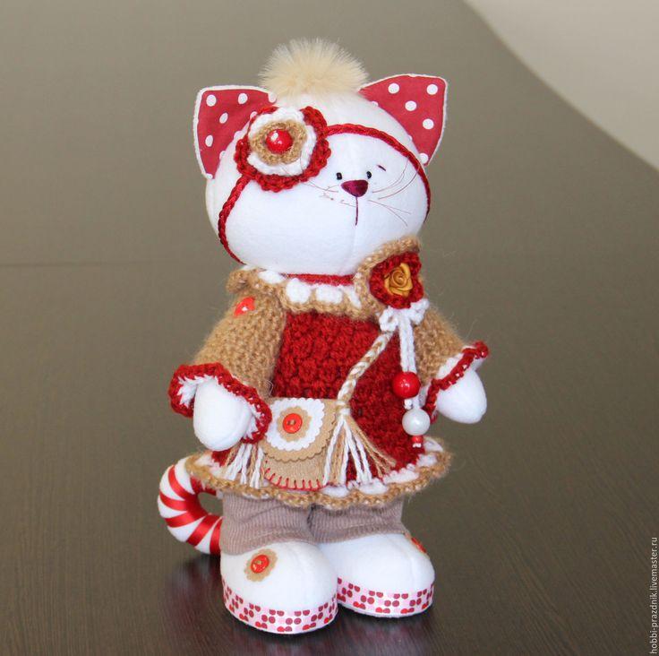 Купить Котенька в вязаном платье - бордовый, коты, кошка, кот, котенок, Игрушка кошка, котя