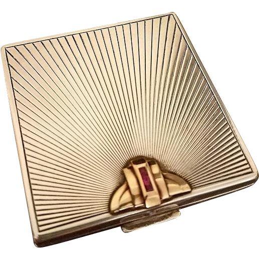 Tiffany Art Deco Sterling Silver, 14K Gold, Rubies Compact, c. 1930 at rubylane.com @rubylane #vintagebeginshere