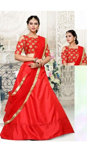 Stylish Red Art Silk Lehenga With Art Silk Choli - DMV11479