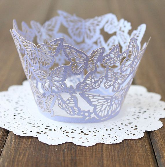 Lace cupcake wrapper, laser cut cupcake liner - 12pcs via Etsy