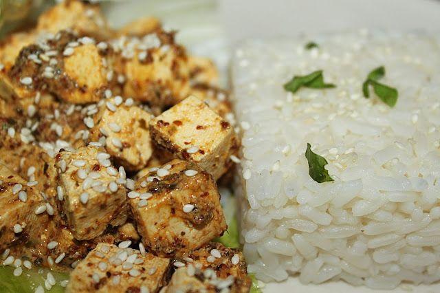 žít vege: tofu v citrónovo-hořčičné omáčce s rýží