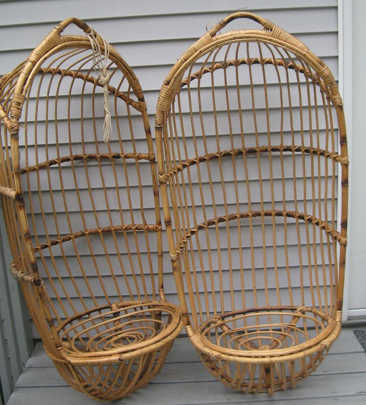 Lot of 2 vintage 70's hanging swing bamboo / wicker chair