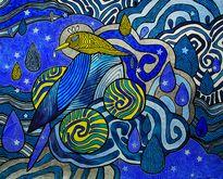 """Картина """"Птица и три Солнца в небесах"""" - ручная работа, handmade"""